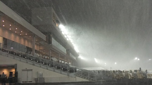 SnapShot | Snow Whips Around In New #Meadowlands Racetrack Lights