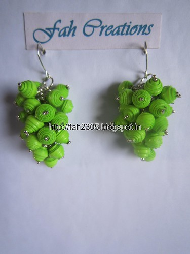 Handmade Jewelry - Paper Bead Grapes Earrings (Green) by fah2305