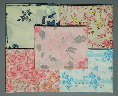 Pink and Blue Fat Quarter Bundle of Vintage Sheets