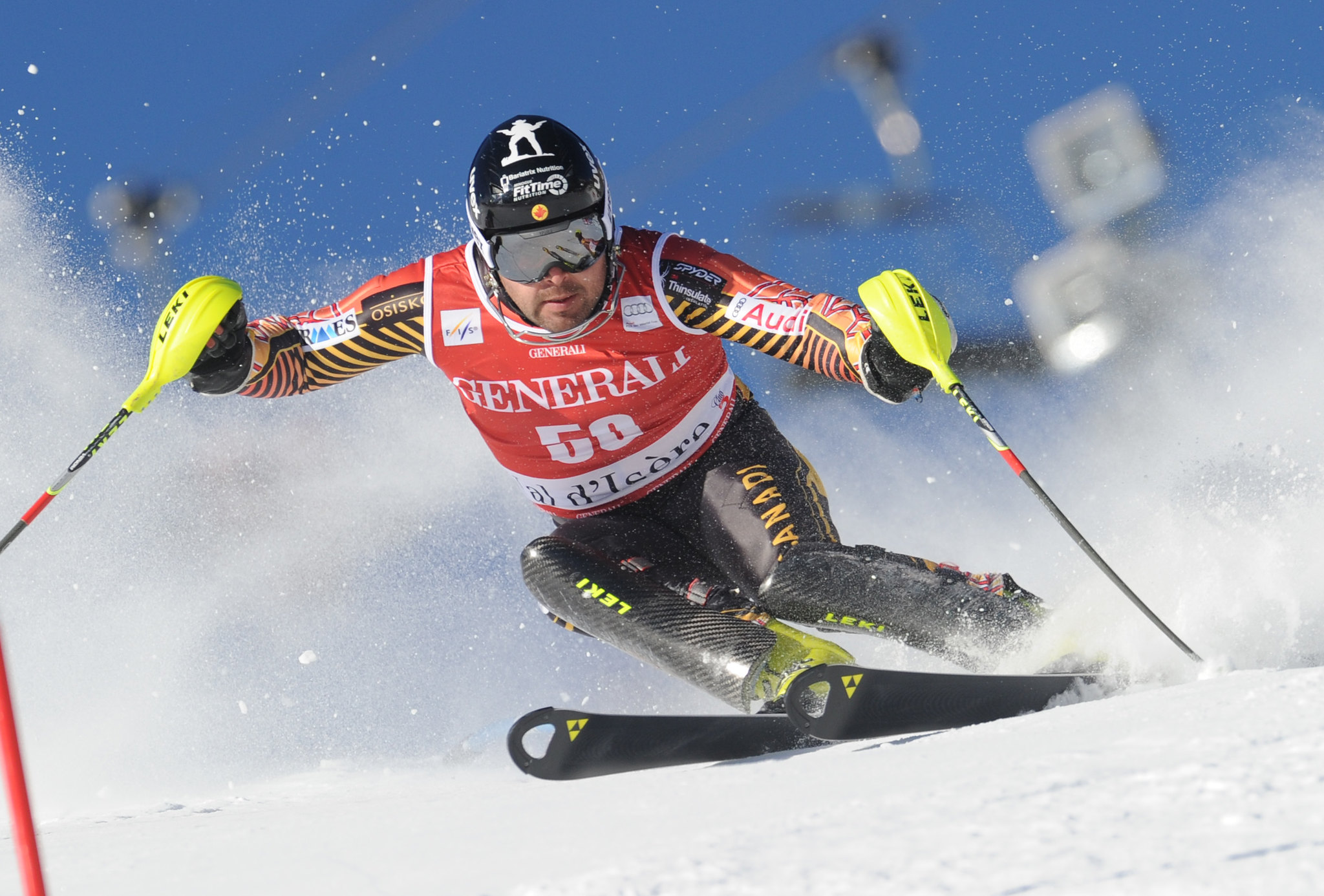 Julien Cousineau speeds his way to a 18th place finish in Val d'Isere, FRA