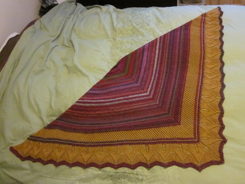 Tandoori Tikka Turmeric Shawl ~ Finished by Pointe Shoes Punk Rock And Purl Pix