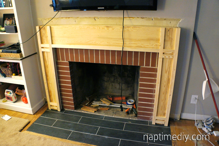 Fireplace Mantel Build 2 (via NaptimeDIY.com)