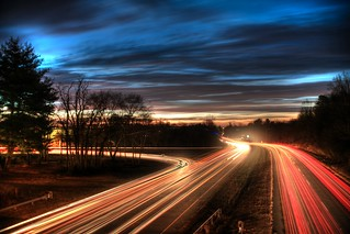light trail sunrise