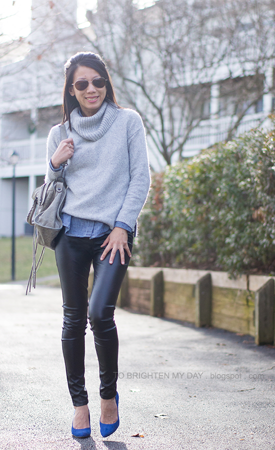 gray cowlneck sweater, chambray shirt, faux leather pants, blue suede pumps