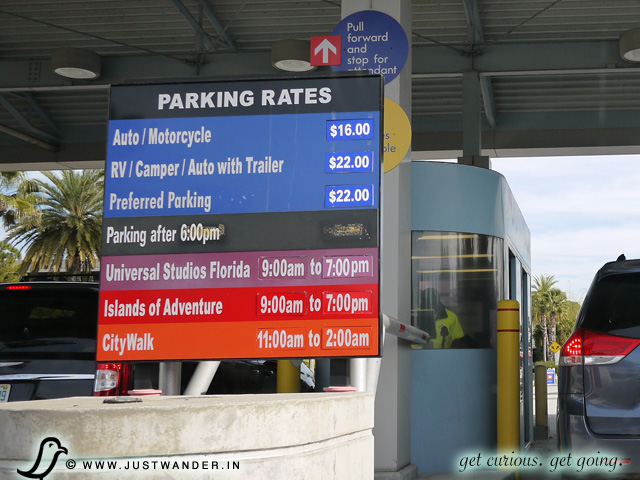 PIC: Universal Studios Orlando parking rates