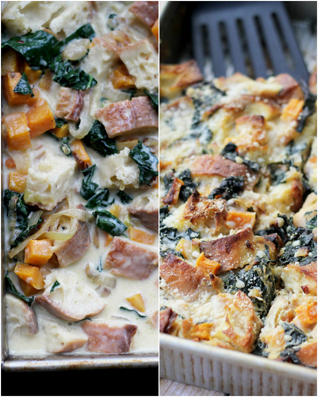 butternut and kale breakfast strata - before and after