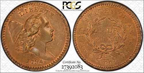 1794 half cent PCGS MS67