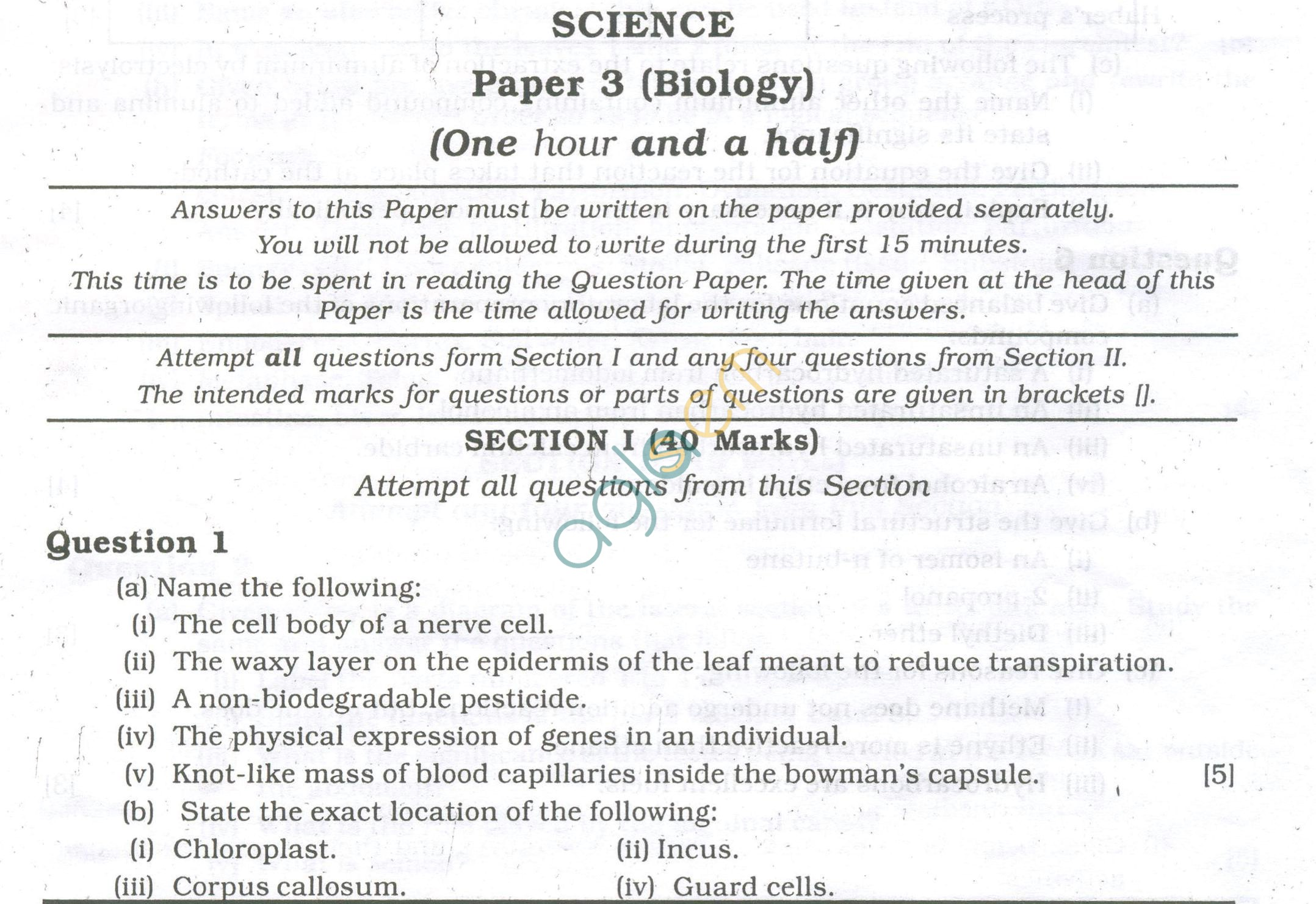 ICSE Question Papers 2013 for Class 10 - Biology