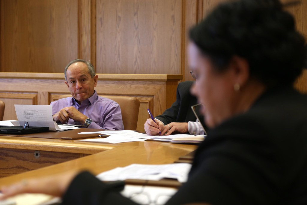 Linda Oubre, dean of the college of business, speaks to the Strategic Planning Coordinating Committee and President Leslie E. Wong at a meeting Friday, Feb. 21 in the Administration Building at SF State.  Photo by Rachel Aston / Xpress