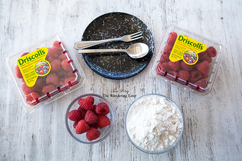 Preparing to bake with these raspberries