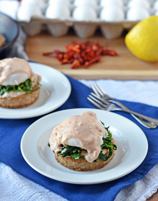 Arugula Eggs Benedict with Easy Goat Cheese Hollandaise on Crispy Farina Cakes