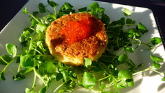 Fish cake with salmon roe