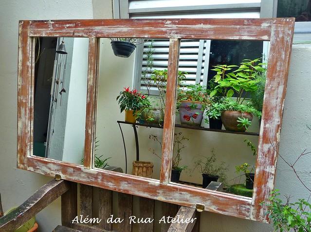 Espelho de janela -  Madeira de demolição