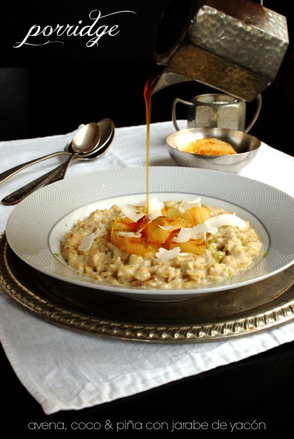 porridge de avena, coco y piña