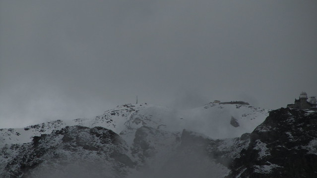 Hohtalligrat and Gornergrat through the clouds