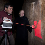Chris Beard and Sandra Olsen using a 3 D laser scanner on a petroglyph at Jubbah.  Photo by Richard T. Bryant.