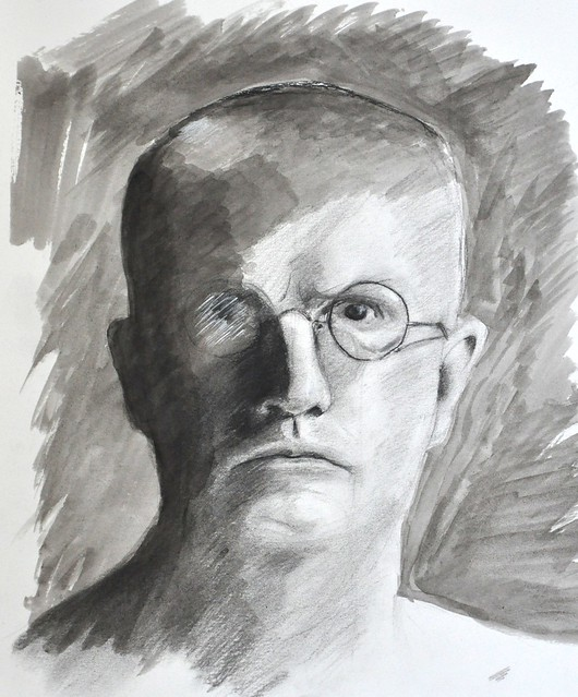 self portrait - charcoal and wash