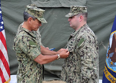 Adm. Harry Harris Jr., commander of U.S. Pacific Fleet, presents the Purple Heart to Master-at-Arms 1st Class Matthew Cuccaro. (U.S. Navy/MC1 David Kolmel)