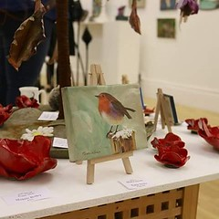 My lil #robin looking well #tweet 😃 at the #ESCArtists #exhibition in #Stamford #bird #wildlife #minicanvas #acrylics #painting