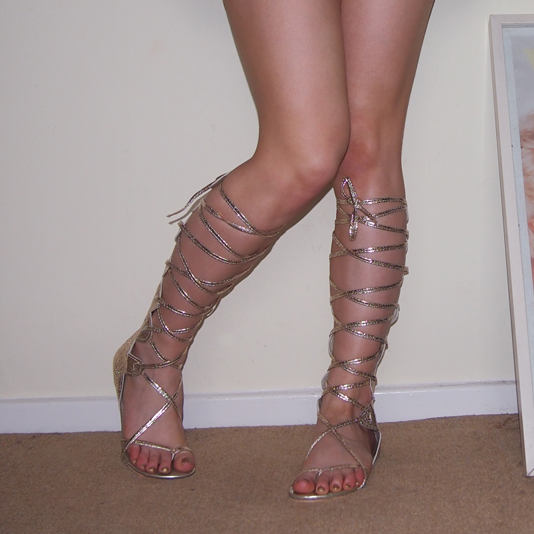 Sam Muses, eBay, UK Fashion Blog, London Blogger, Gold, Knee-High Gladiator Sandals, Long, High-Leg, Metallic