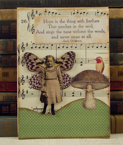 Fairy and Mushroom with Hummingbird Collage