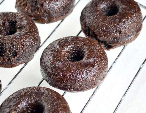 baked chocolate fudge donuts