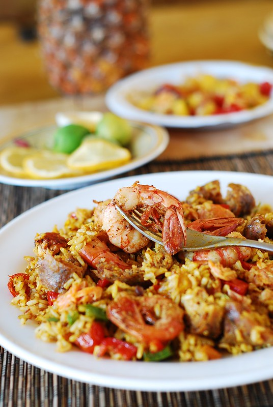 Paella with chicken, shrimp, and sausage, Spanish cuisine, Spanish recipes, jambalaya