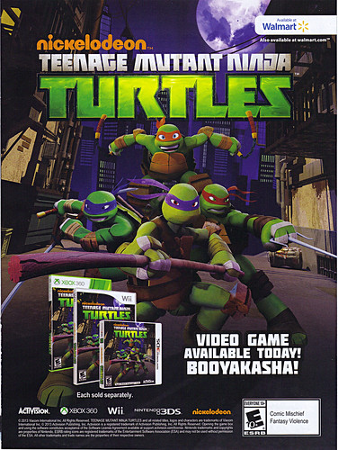 Walmart Gamecenter Magazine :: Nickelodeon TEENAGE MUTANT NINJA TURTLES; The Video Game - ..print ad (( 2013 ))