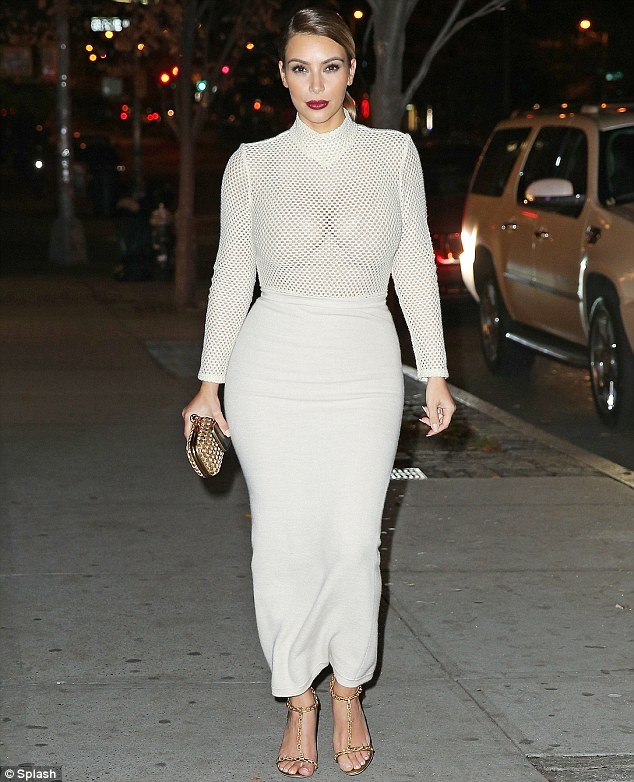 how-to-wear-Mesh/perforated/fishnet-trend,fishnet longsleeved top, mesh top, Kim Kardashian in Veronique Leroy white mesh bodysuit,Veronique Leroy A/W 13 Rachelle ecru mesh bodysuit,Tom Ford strappy sandals, Bottega Veneta box bag