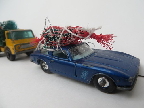 Vintage Matchbox car with tree ornament