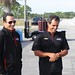 Helio Castroneves (L) chats with Juan Pablo Montoya during the Team Penske test at Sebring