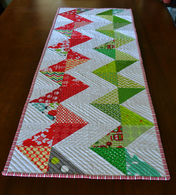 Chevron Christmas runner for the DUDQS Xmas swap.