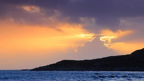 sunset sea orange cloud water clouds coast scotland seaside headland inverkirkaig