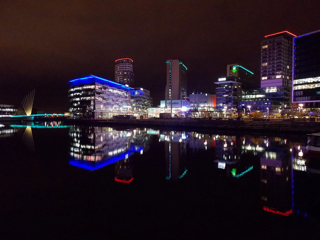 Life in Neon - Media City in Salford Quays, Salford, Greater Manchester County, England - December 2013