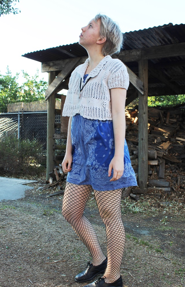 cream cropped cardigan, blue handkerchief dress, black fishnets - OOTD 1/15/2014
