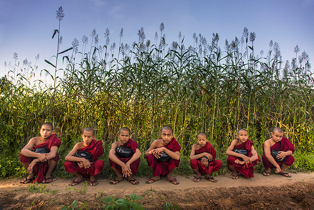 Austerity:  Monks escaping the heat in Burma.