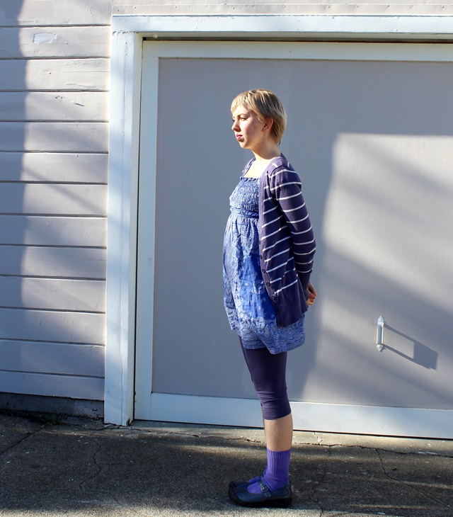 blue and purple outfit: striped cardigan, dress, and leggings