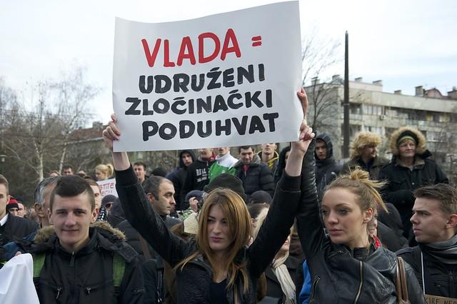 Sarajevo protest.  Sign says