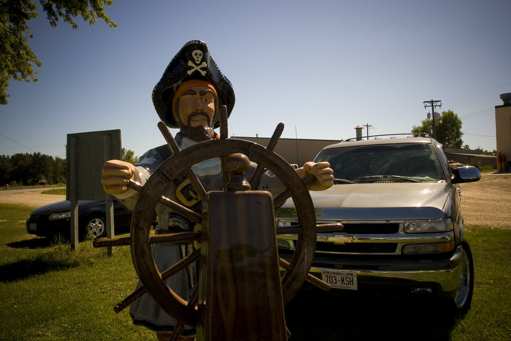 Fiberglass pirate roadside attractions at F.A.S.T. - Fiberglass Animals, Shapes & Trademarks in Sparta, Wisconsin