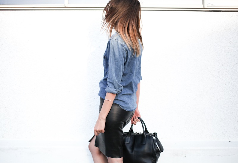 modern legacy fashion personal style blogger australia boyfriend denim shirt General Pants Co KAHLO leather zip pencil skirt Tibi sandal heels Alexander Wang chain bag street style ray ban oversized wayfarers (9 of 12)