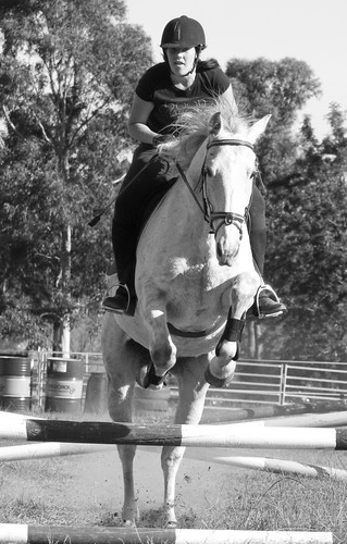 Family - Taylah & Blue - Jumping Front B&W