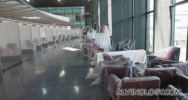 Sofa seats for passengers waiting for check-in