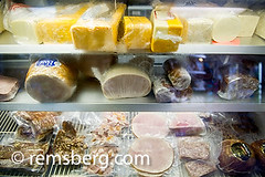 Deli case of cheese and meats in Frostburg, MD