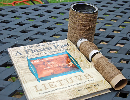Book - Reflections from a Flaxen Past by Kati Reeder Meek and handspun linen single yarns