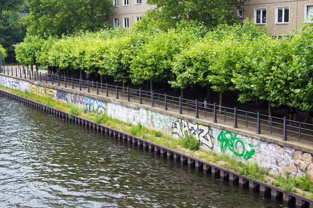 Graffiti on the river spree in berlin