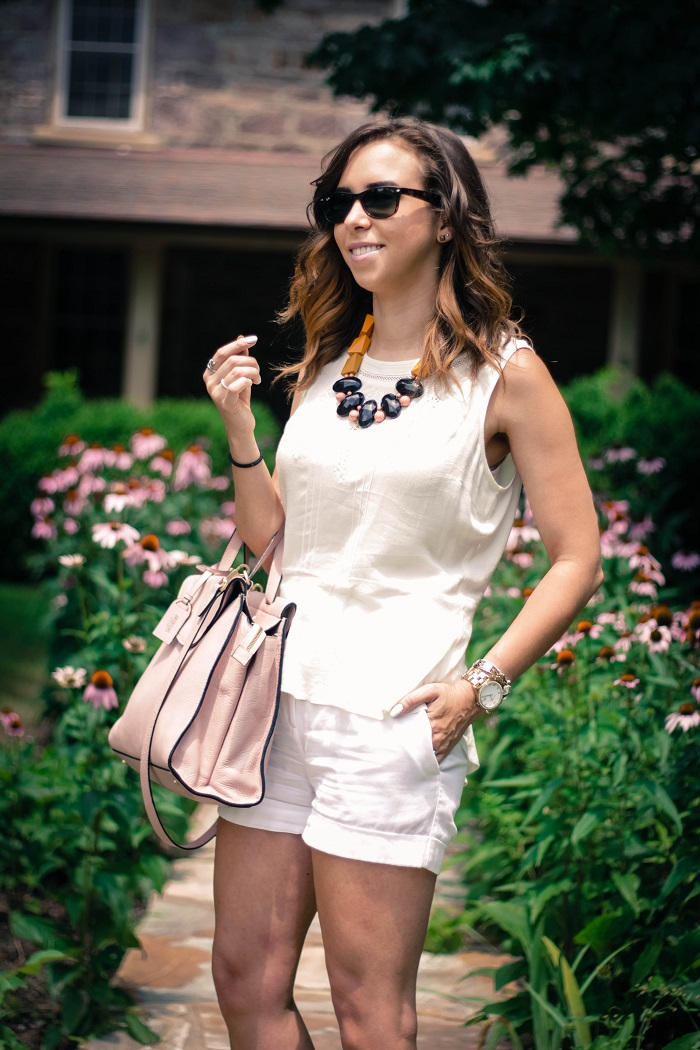 va darling. dc blogger. virginia personal style blogger. virginia blogger. white forever21 top. white cotton shorts. kate spade saturday a satchel. pink wedges. summer style 1