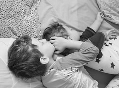 child, sleep, photograph, monochrome photography, monochrome, black-and-white, person, interaction,