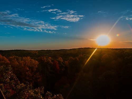 sunset sun yellow blue sky sunny autumn colors fall trees clouds canon t6i wide composition hobby mohican state park golden orange red green landscape photography fun tower fire watch high tall beautiful stunning gorgeous lightroom photoshop cc stacked merge hdr exposure