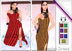 ~ϻ:SANDRA Straples Dress 7 Colors and Heels Clutch