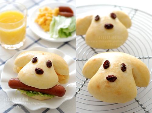 免揉面包.咬著热狗的可爱狗狗包